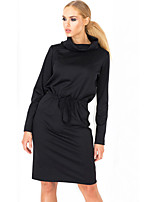 Women's Plus Size / Casual/Daily Vintage / Sophisticated Bodycon DressSolid Cowl Knee-length  Sleeve Black  Dress