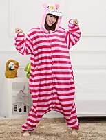 Unisex Cashmere / Polyester Cute Strip Cartoon One-piece Pajama Winter Thick Warm Sleepwear Fuchsia