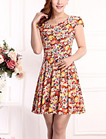 Brand Fashion Women's Vintage / Street chic Print Plus Size / Sheath Dress,Round Neck Above Knee Cotton / Polyester