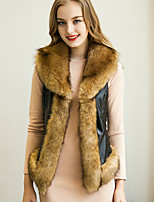 Women's  Street chic Fur Coat Solid V Neck Sleeveless Winter Black / Brown / Gray Faux Fur / PU