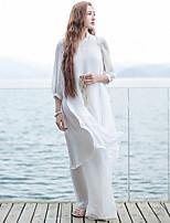 Ample Robe Femme Décontracté / Quotidien simple,Couleur Pleine Mao Mi-long Manches ¾ Blanc Autres Eté Taille Normale Non Elastique Moyen