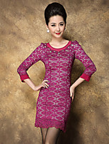 Boutique S Women's Plus Size / Work Sophisticated Sheath DressSolid Round Neck Above Knee  Sleeve Red Others Spring