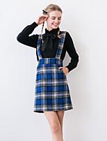 Linjou  Women's Plaid Blue SkirtsVintage Above Knee