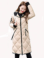 Women's Solid Beige / Black / Brown / Gray / Green Padded CoatVintage Hooded Long Sleeve  plus size