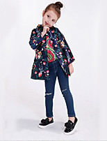 Girl's Casual/Daily Print Trench CoatCotton / Rayon Winter / Spring / Fall Blue