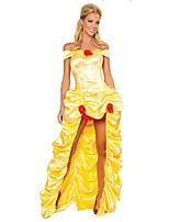 Costumes Déguisements de princesse Halloween Jaune Couleur Pleine Térylène Robe / Plus d'accessoires