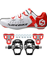 SD001 Cycling Shoes Road Bike Sneakers Damping / Cushioning Red/White-sidebike And WeigeR251 Rock Pedals