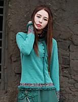 Chemise Femme,Cachemire Sortie Vintage Printemps Automne Manches Longues Col Arrondi Vert Coton Polyester Spandex Moyen