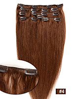 Hot Sale Virgin Human Hair Wefts  Silky Straight Clip In Remy Hair Extensions #4 Color 7Pcs/Set