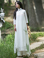 Ramie Cotton Women's Casual/Daily Vintage Shift DressSolid Stand Midi Long Sleeve White Silk