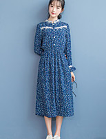 Women's Casual/Daily Cute Sheath DressFloral Round Neck Midi Long Sleeve Blue Polyester Fall / Winter Mid