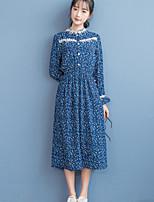 Gaine Robe Femme Décontracté / Quotidien Mignon,Fleur Col Arrondi Midi Manches Longues Bleu Polyester Automne / Hiver Taille Normale