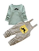 Мальчик Набор одежды,На каждый день,С принтом,Хлопок,Осень,Зеленый / Розовый / Белый
