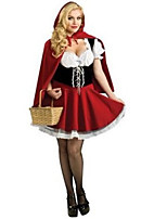 Costumes Fairytale Costumes / Movie & TV Theme Costumes Halloween Red Patchwork Terylene Dress / Earring