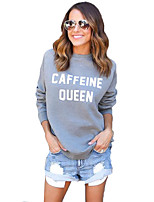 Women's Going out / Casual/Daily Simple / Active Regular HoodiesLetter Gray Round Neck Long Sleeve Cotton /
