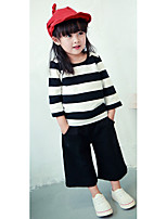 Girl's Casual/Daily Striped Blouse / PantsCotton Spring / Fall Black / White
