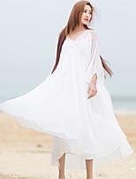 Damen Lose Kleid-Lässig/Alltäglich Einfach Solide V-Ausschnitt Knielang Langarm Weiß Andere Frühling / Sommer Mittlere Hüfthöhe