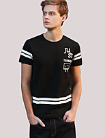 Men's Print / Letter Casual T-ShirtCotton Short Sleeve-Black