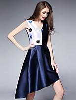 Women's Plus Size / Going out Street chic Sheath DressColor Block V Neck Asymmetrical Sleeveless Blue Polyester