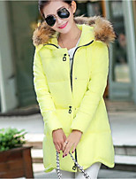 Women's Solid Pink / White / Black / Gray / Yellow Padded Coat,Simple Hooded Long Sleeve   Jacket