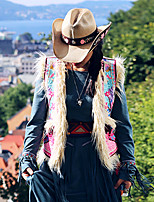 Женский На выход / На каждый день Осень Куртка V-образный вырез,Винтаж Вышивка Бежевый Без рукавов,Шерсть / Хлопок,Средняя