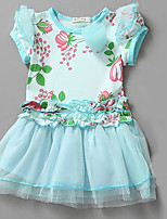 Girl's Casual/Daily Print DressCotton Summer Blue