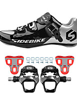SD001 Cycling Shoes Unisex Road Bike Sneakers Damping / Cushioning Black / Silver-sidebike And WeigeR251 Rock Pedals