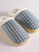 Traditional Blue Grid Slide Slippers Men's Slippers