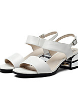 Women's Sandals Spring Summer Fall Comfort Leather Dress Casual Chunky Heel Others White Silver Others