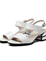 Damen-Sandalen-Kleid / Lässig-Leder-Blockabsatz-Komfort-Weiß / Silber
