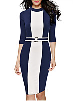 Women's Round Collar Plus Size Simple Color Block Sheath Pencil Dress