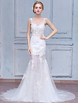 Trumpet / Mermaid Wedding Dress Court Train Spaghetti Straps Lace / Tulle with Appliques / Lace