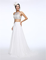 Lanting Bride® A-line Wedding Dress Sweep / Brush Train Bateau Chiffon with Beading / Sequin