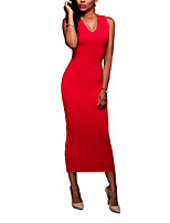 Women's Going out / Casual/Daily / Party/Cocktail Sexy / Simple Bodycon DressSolid V Neck