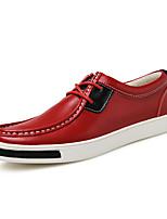 Черный Красный Темно-русый-Для мужчин-Для прогулок Повседневный Для занятий спортом-Дерматин-На плоской подошве-Удобная обувь-Кеды