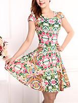Hot Sale  Women's Vintage / Street chic Floral Plus Size / Sheath Dress,Round Neck Above Knee Cotton / Polyester