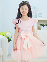 Girl's Casual/Daily Solid DressCotton Summer / Spring Pink