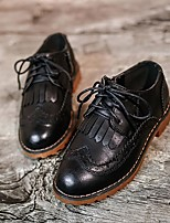 Boy's Oxfords Fall Comfort Casual Flat Heel Lace-up Black / Brown / Red Walking