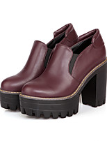 Women's Boots Fall Leather Casual Chunky Heel Others Black Blue Burgundy Others