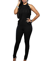 Women's Solid Black JumpsuitsSexy / Simple Round Neck Sleeveless