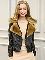 Женский На каждый день / Большие размеры Пэчворк Пальто с мехом Рубашечный воротник,Простое Зима Коричневый / Серый Длинный рукав,