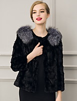 Women's Plus Size / Casual/Daily Street chic Fur CoatSolid Round Neck Long Sleeve Winter  Faux Fur Thick