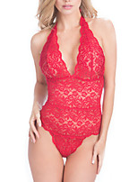 Women Teddy Nightwear,Sexy / LaceThin Lace Red / Black Women's