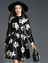 Women's Plus Size / Going out Vintage / Simple Sheath DressFloral Stand Above Knee Long Sleeve Black Polyester