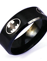 Men's Silver Black Alloy Band Ring