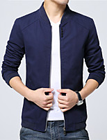 Мужской Хлопок / Полиэстер Куртка На каждый день / Для офиса,Однотонный,Длинный рукав,Черный / Синий / Красный / Бежевый