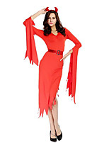 Women's Devil Red Halloween Long Dress Costume