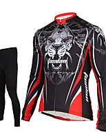 TASDAN® Cycling Jersey with Tights Men's Long Sleeve BikeBreathable / Quick Dry / Front Zipper / Sweat-wicking / Compression / 3D Pad /