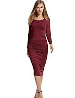 Feminino Bandagem / Bainha Vestido,Casual Simples Sólido Decote Redondo Médio Manga Longa Vermelho / Preto / Verde Algodão / Elastano