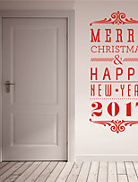AYA DIY Wall Stickers Wall Decals Christmas Festival Merry Chritmas & Happy New Year 2017 Style PVC Stickers 42*90cm